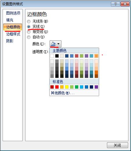 设置excel图表图例边框颜色
