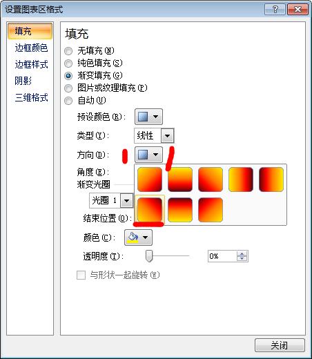 excel中设置图表区格式