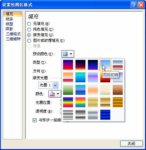 设置excel图表绘图区格式