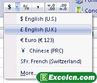 让用户更加容易地设置excel货币符号
