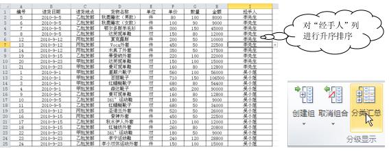 Excel分类汇总