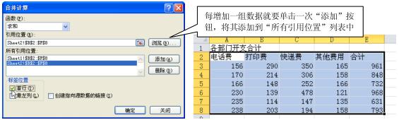 Excel2010按位置合并计算