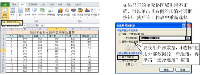 Excel2010中创建数据透视表