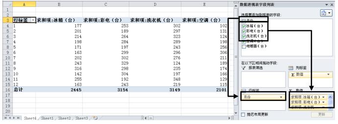 编辑Excel数据透视表