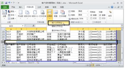 插入Excel分页符