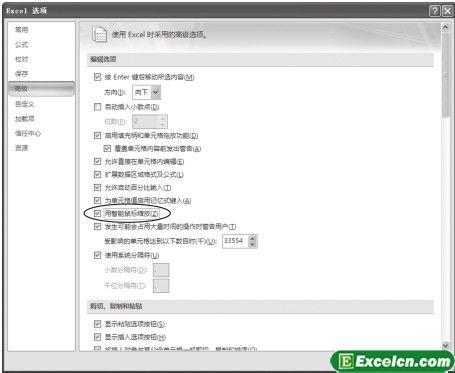启用Excel2007智能鼠标缩放功能