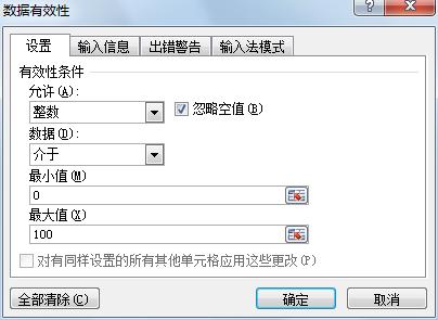 相应的Excel单元格指定录入数据的有效范围